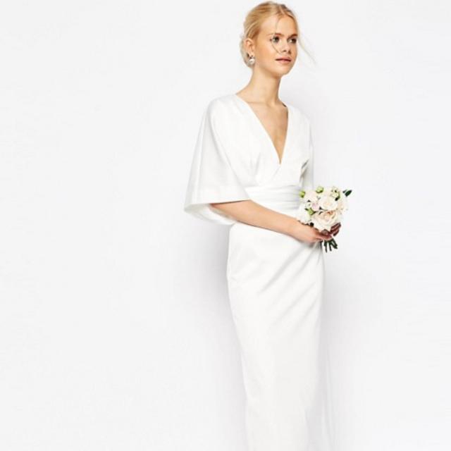 ASOS BRIDAL Wedding White Kimono Japanese Style Deep V Plunge ...