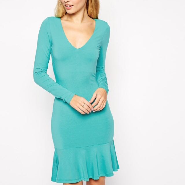 ASOS green long sleeved ruffle trim dress UK 14