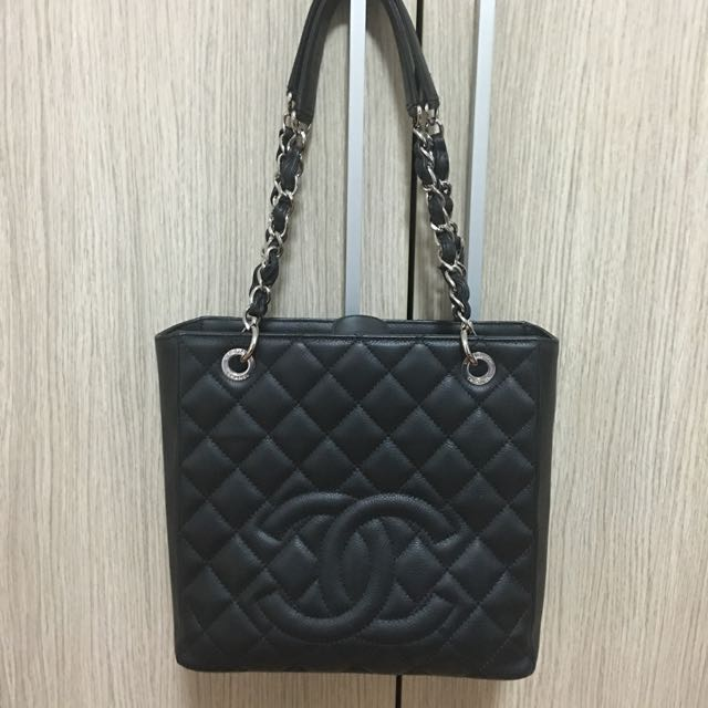 4b3323b96be3 Auth Chanel Petite Shopping Tote PST