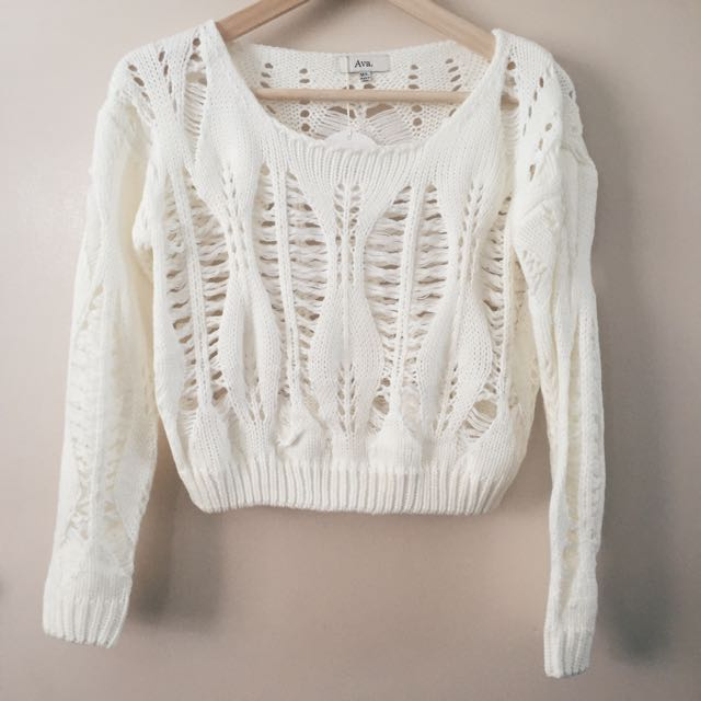 Ava White Crop Jumper