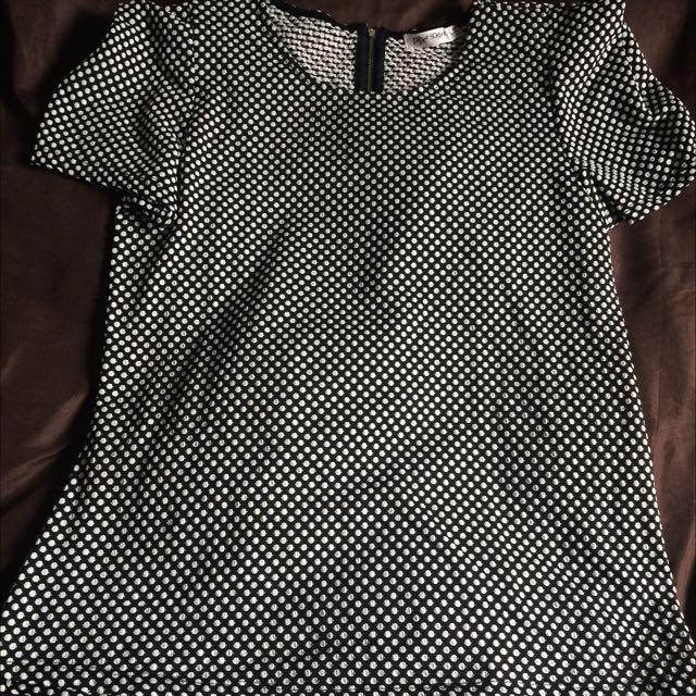 Black & White Poker-dots Dress Top