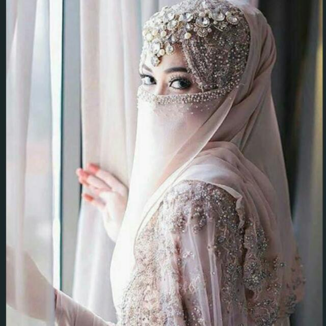 Bridal Niqab Custom Order Available To Match Your Wedding Gown