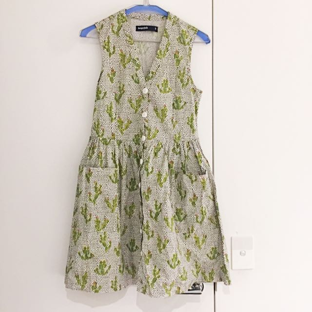 Cactus Print Dress With Pockets