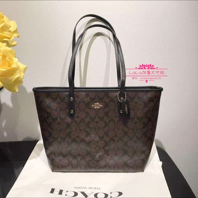 ... coated canvas brown black 3d974 0bdce  release date city zip tote in signature  coach f36876 luxury bags wallets on carousell d5393 082d8 d531df605687c