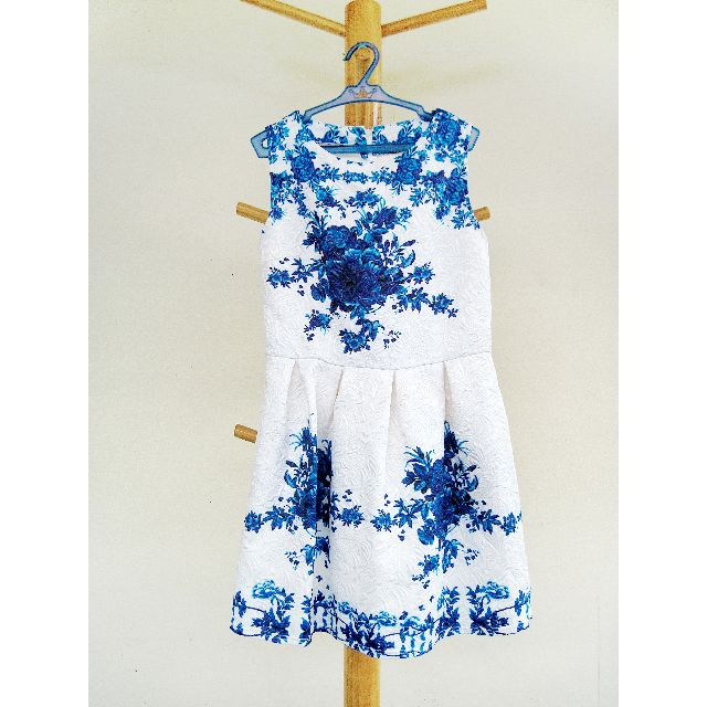 Dainty White Dress With Blue Flowers Print