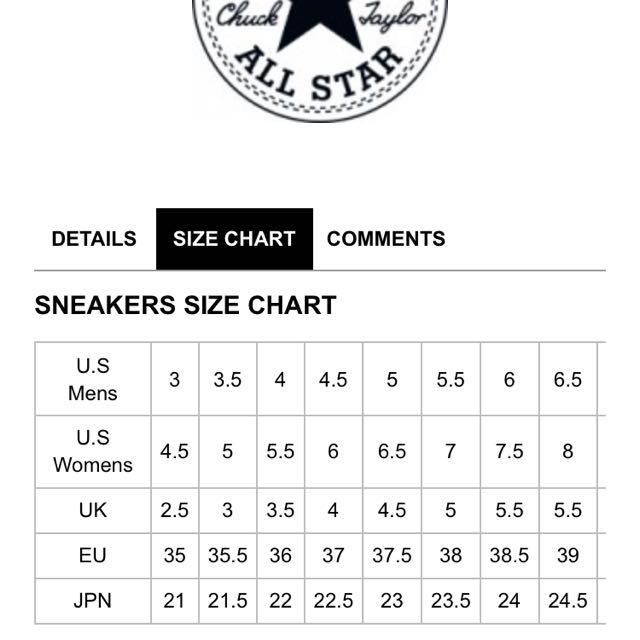 converse cdg size chart