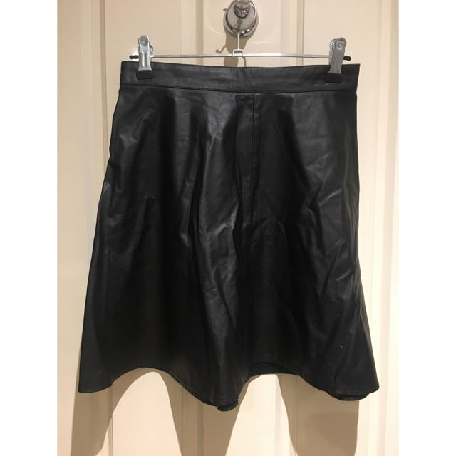 Faux Leather H'n'M Skater Skirt