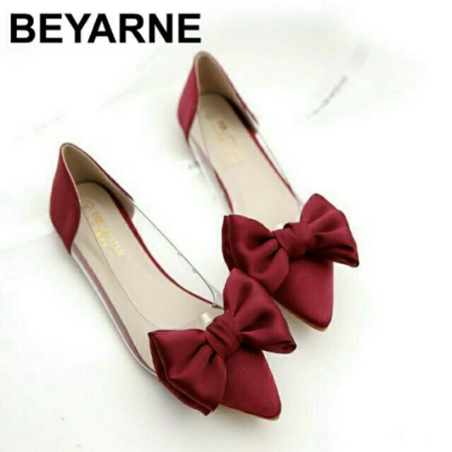 Flatshoes Mica Satin Merah