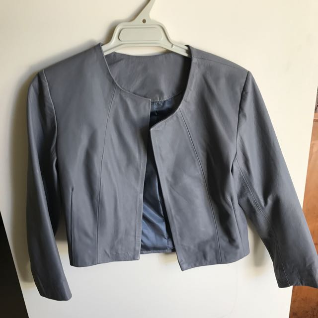 Grey Real Leather Cropped Jacket, Size 8