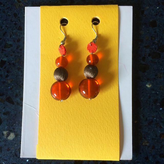 Handmade Orange Glass Earrings
