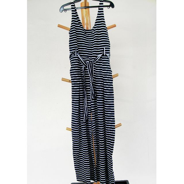Jumpsuit With Horizontal Black and White Stripes RESERVED UNTIL APRIL 25