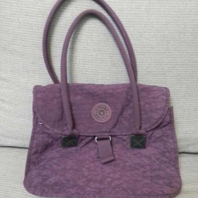kipling品牌紫色休閒側包手提包