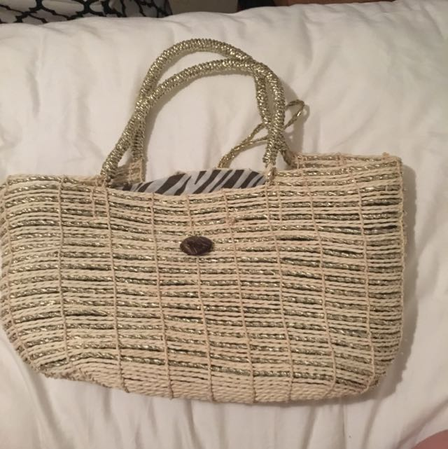 Metallic Woven Beach Bag