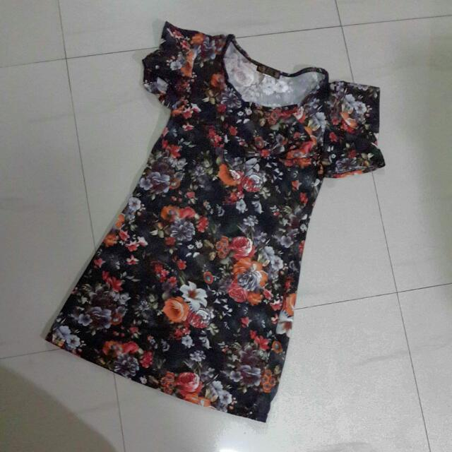 Mini Dress Black Flower