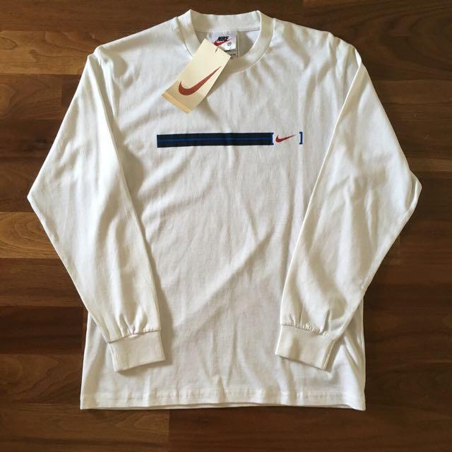 全新古著庫存白色Nike薄長袖