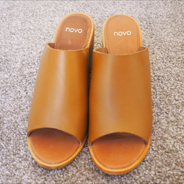 Novo Tan Slip On Heels