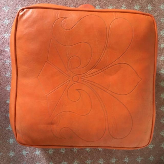 Orange Leather Foot Stool Or Floor Chair