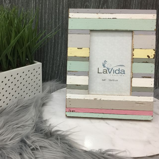 Picture Frame Wooden Distressed Stripes