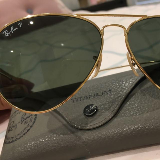 Ray Ban Polorised Gold Glasses