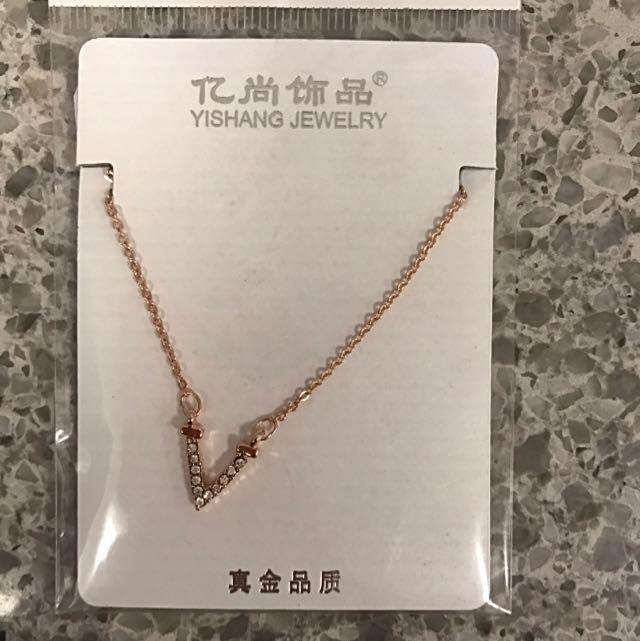 Rose Gold 'V' Necklace