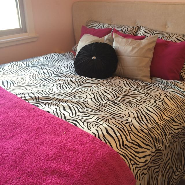Satin Zebra Print Bedding Queen