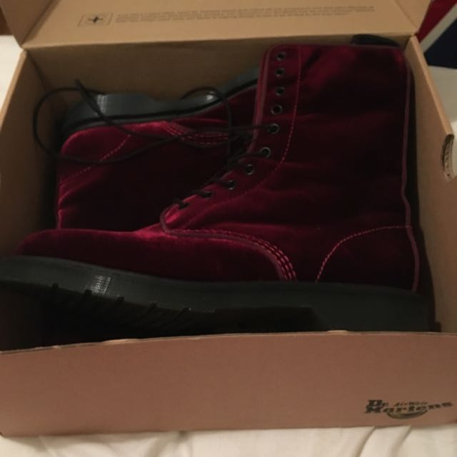 Size 10 Red Velvet Doc Martins New With Box