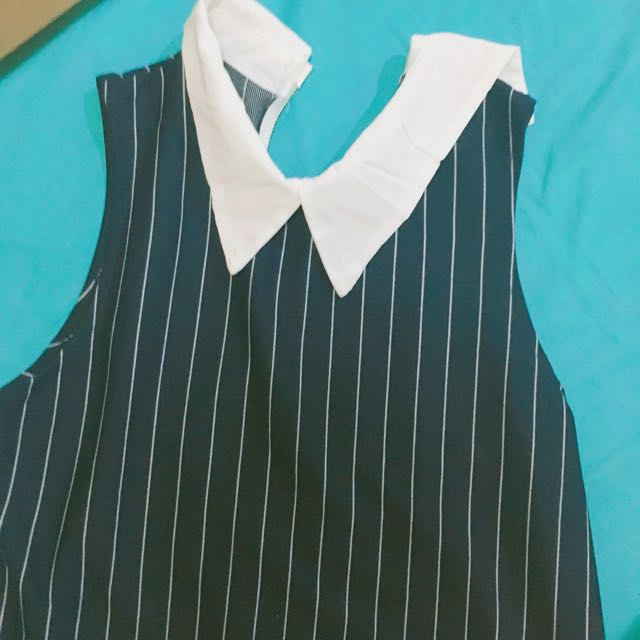 Striped Sleeveless Dress With Cute Collar
