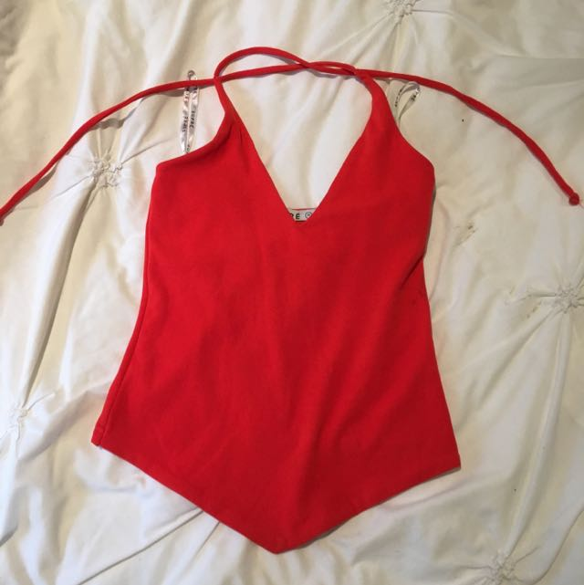 Supré Old School Red Halter Neck Top