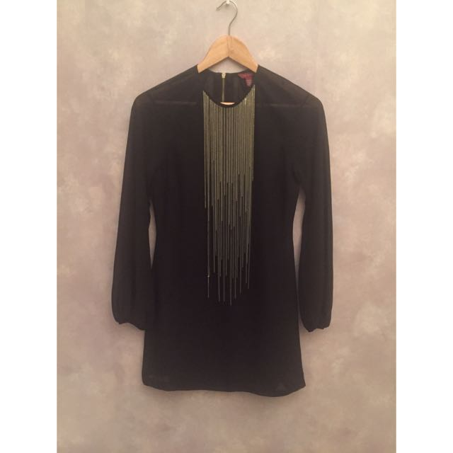 Ted Baker Black Dress With Gold And Silver Fringe Detail