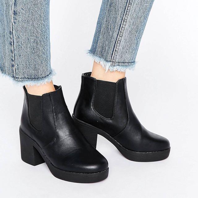 Truffle Chunky Heeled Chelsea Boots