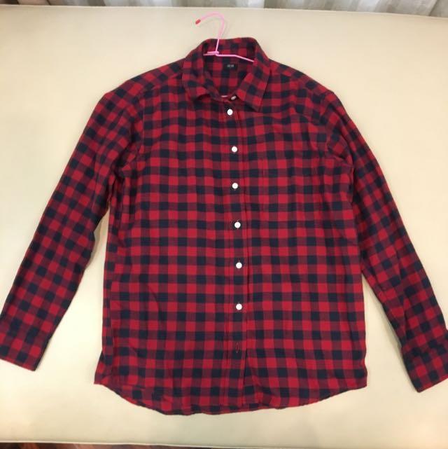 UNIQLO 紅黑格紋襯衫