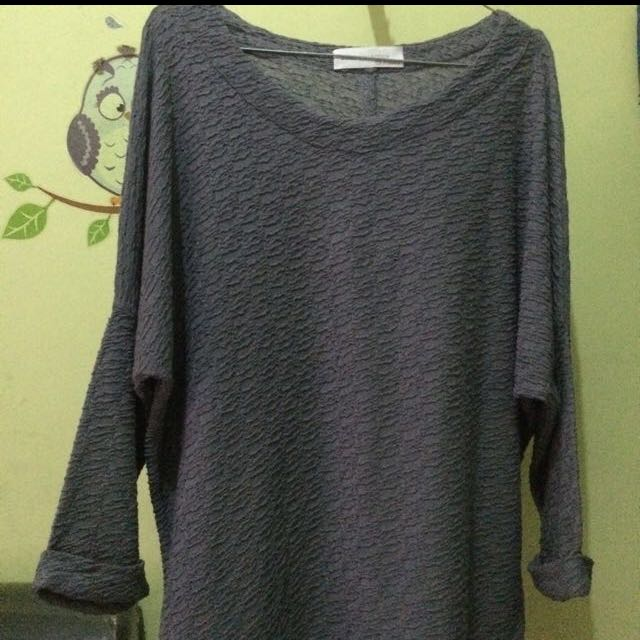 ZARA TOP BLOUSE GREY