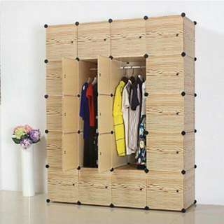 Hanging Clothes Cabinet Combined Type Brief Wardrobe Wood Design (apricot)
