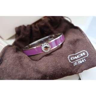 COACH Silver purple Enamel Hinge Bangle