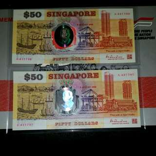 Unc A Prefix Singapore Old Running $50 Polymer Commemorative Series With Folder And Date