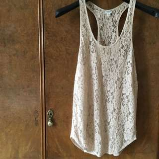 Aritzia Wilfred Nude Lace Top, Size XS