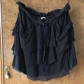 Aritzia Wilfred Black Silk Tiered Skirt, Size medium