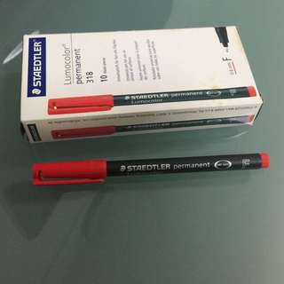 Staedtler Lumocolor Slim Whiteboard Pen Red Pack of 10