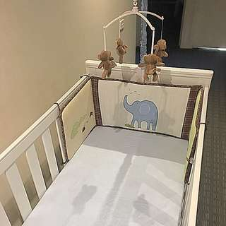 White Baby Cot And Mattress
