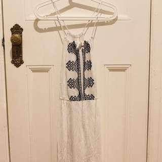 Long white pattern dress