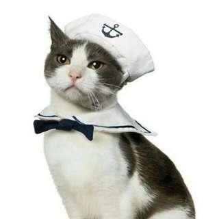 Pet Cat/Dog Adjustable Navy Sailor 2 Piece Costume