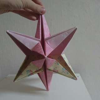 Homemade Origami Ornamental Decorative 6 Pointed Star.