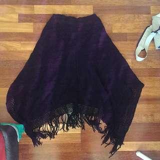 One-size Black Cotton Poncho