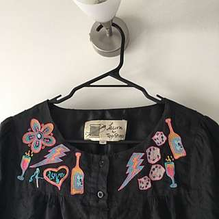Topshop Embroidered Top