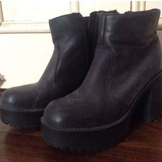REDUCED Roc Leather Chunky Ankle Boots