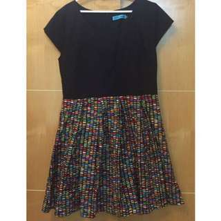 Plus Sized Colourful Geometric Pleated Dress With Black Top