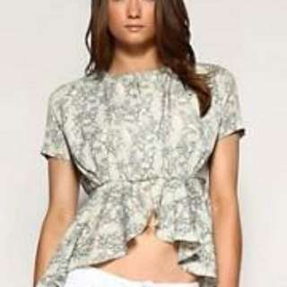 ASOS A Wear Lace Print Bed Jacket Frill Peplum Hem Top