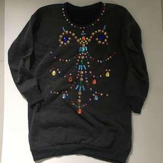 Soft Gray Gem-Embellished Sweater