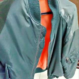 original flight/bomber jacket green orange double zip TALON size L fit to M