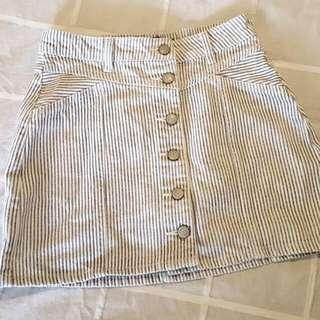 High Waisted Button Skirt